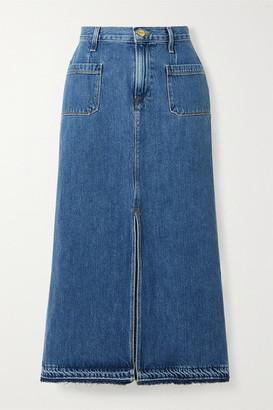 Frame Le Bardot Frayed Denim Midi Skirt - Mid denim