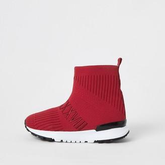 River Island Mini boys red ribbed hi-top sock trainers