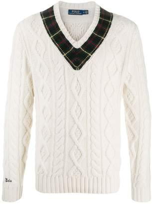 Polo Ralph Lauren checked neckline jumper