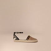 Burberry Studded Leather and House Check Espadrille Sandals