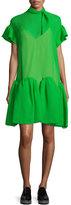 DELPOZO Short-Sleeve Wave-Hem Dress, Meadow Green