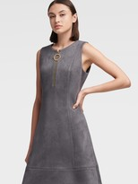 DKNY Faux Suede Fit-and-flare Dress