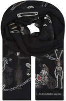 Alexander McQueen Embroidered silk-blend scarf