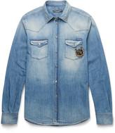 Dolce & Gabbana Slim-Fit Appliquéd Washed-Denim Western Shirt