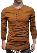 Pishon Men's Henley Shirt Solid Cotton 5-Button Slim Fit Casual Long Sleeve Shirt