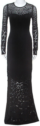 Roberto Cavalli Black Stretch Knit Sheer Detail Long Sleeve Maxi Dress S