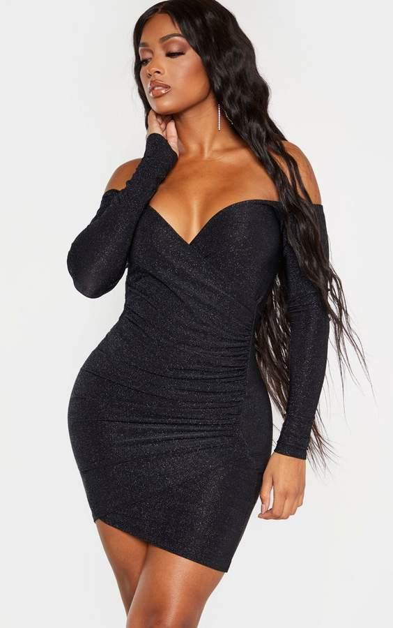 PrettyLittleThing Shape Black Textured Slinky Bardot Wrap Bodycon Dress