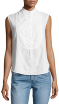 Derek Lam 10 Crosby Sleeveless Gauze Tuxedo Shirt, White