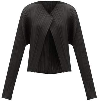 Pleats Please Issey Miyake Cropped Pleated Technical Jacket - Womens - Black