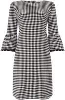 Oui Gingham flute sleeve dress with eyelet detail