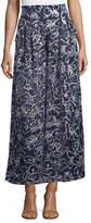 MISA Los Angeles Sedona Printed High-Waist Wide-Leg Satin Pants