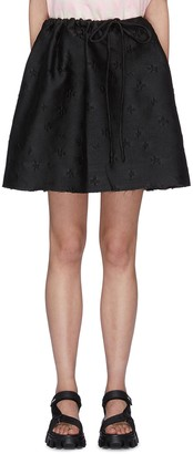 SHUSHU/TONG Mini Bow Front Floral Embroidered Skirt
