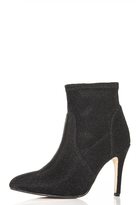 Quiz Black Textured Pointed Ankle Boots