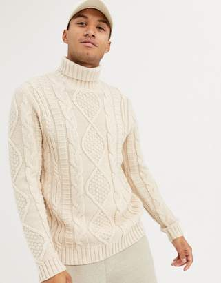 Asos Design DESIGN heavyweight cable knit roll neck sweater in oatmeal-Beige