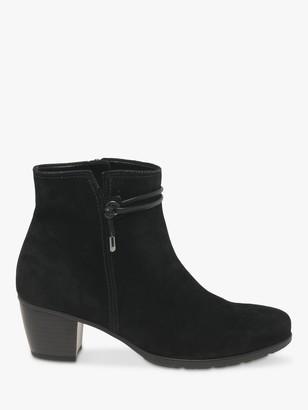 Gabor Ela Suede Cuban Heeled Ankle Boots, Black