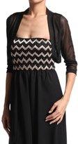 TheMogan Women's Sheer MESH BOLERO SHRUG Layering Vest Crop TOP - 3/4 Black - Small