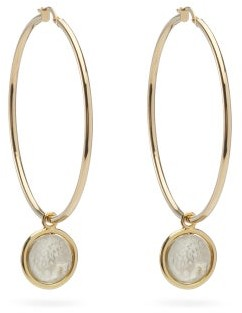 Dubini - Lion 18kt Gold Coin-drop Hoop Earrings - Silver Gold