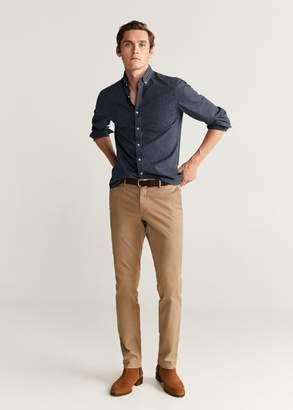 MANGO MAN - Slim fit gingham check shirt blue - XS - Men