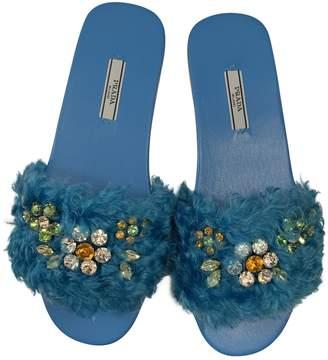 Prada Turquoise Faux fur Sandals