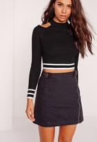 Missguided Cold Shoulder Crop Sweater Black