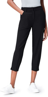 find. Women's Trousers in a Tapered Leg Crop in Stretchy Woven Fabric with Side and Back Pockets
