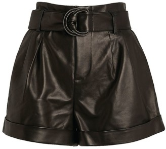 Frame Paperbag-Waist Leather Shorts