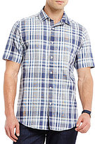 Hart Schaffner Marx Plaid Cotton/Linen Blend Short-Sleeve Shirt