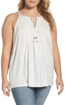 Daniel Rainn Plus Size Women's Eyelet Embroidered Tank
