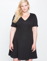ELOQUII Plus Size Textured V-Neck Fit and Flare Dress