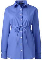 Lands' End Women's Long Sleeve Maternity Adjustable Stretch Shirt-True Blue