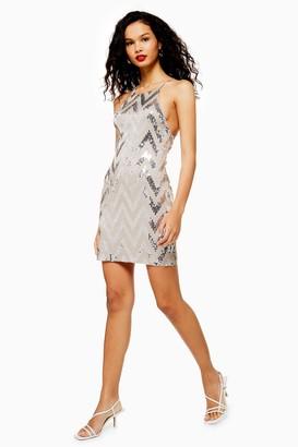 Topshop Womens Stone Zig Zag Sequin Halter Neck Mini Dress - Stone