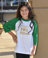 Beary Basics Green & White 'Live Love Football' Raglan Tee - Toddler & Girls