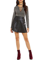 Soulmates Long-Sleeve Rib-Knit Lace-Up Bodysuit