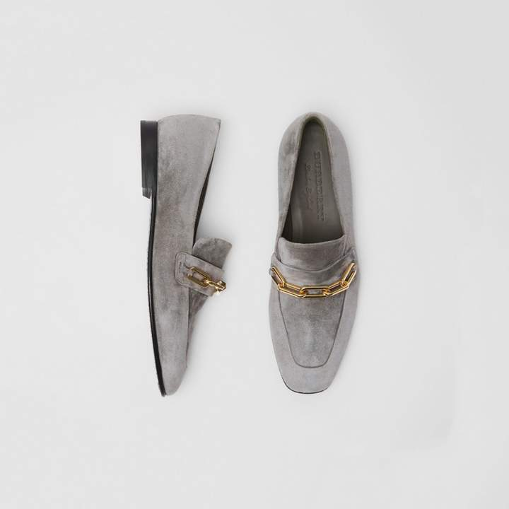 Burberry Link Detail Suede Loafers