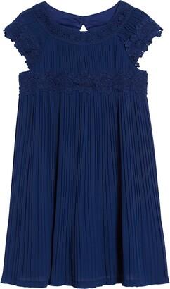 Little Angels Cap Sleeve Pleat Chiffon Dress