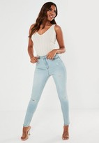 Missguided Light Blue Distressed Skinny Jeans