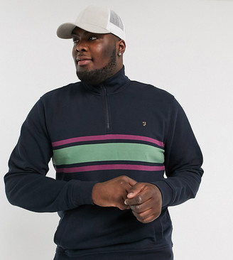 Farah Love half zip sweat with stripe detail in navy