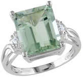 5 5/8 CT. T.W. Green Amethyst White Topaz 4 Prong Ring in Sterling Silver