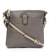 Kathy Ireland Gray Contrast-Strap Crossbody Bag
