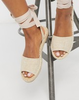 Truffle Collection tie leg espadrille flat sandals
