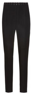 HUGO BOSS Regular Fit Pants With Stud Detail Waistband - Black