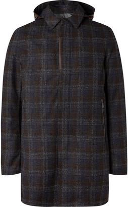Herno Laminar Checked Virgin Wool-Blend Hooded Coat