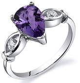 Peora 3 Stone 1.00 carats Amethyst Ring in Sterling Silver Rhodium Nickel Finish Size 5