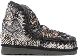 Mou Eskimo snakeskin print boots