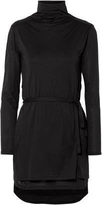 Ann Demeulemeester Belted Cotton And Silk-blend Jersey Turtleneck Top