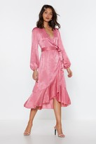 Nasty Gal Womens Satin Frill Midi Dress - Pink - 6, Pink