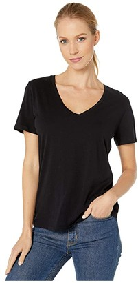 Majestic Filatures Cotton Silk Touch Short Sleeve V-Neck Tee (Noir) Women's T Shirt