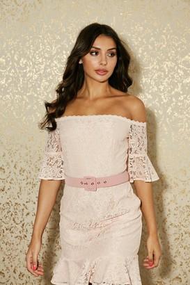 Paper Dolls Heron Pink Almond Lace Bardot Belted Mini Dress