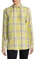 Lafayette 148 New York Sabira Plaid Linen Shirt