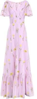 Lela Rose Cape-effect Striped Cotton-blend Floral-jacquard Gown